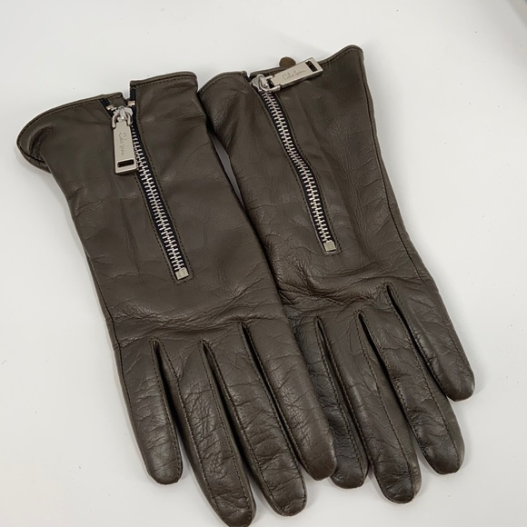 Cole haan cashmere lined green leather gloves